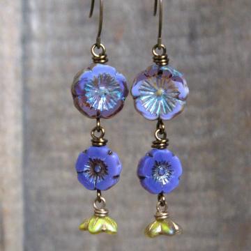 Purple & Green Czech Glass Earrings. Cascading Floral Earrings