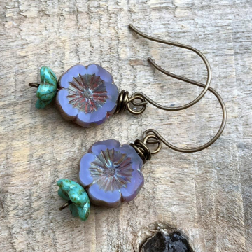 Purple & Turquoise Czech Glass Flower Earrings. Lavender Pansy Flower Earrings
