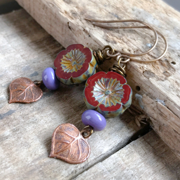Rustic Marsala Red Czech Glass Flower Earrings with Copper Leaf Charms
