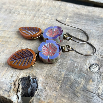 Rustic Purple Czech Glass Flower Earrings. Orange Glass Leaf Earrings.  Nature Bead Earrings