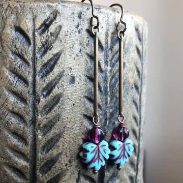 Turquoise Czech Glass Maple Leaf Earrings