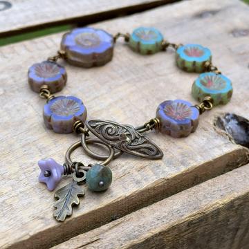 Lavender & Seafoam Green Flower Bracelet. Floral Bracelet. Bohemian Style Czech Glass Bracelet