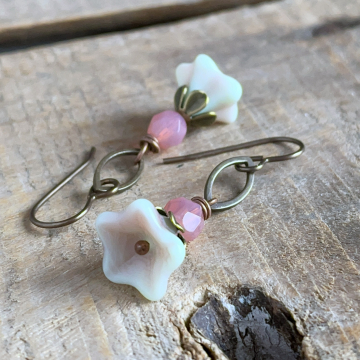Pink & Green Czech Glass Flower Earrings. Petite Floral Earrings. Spring Earrings. Pastel Earrings