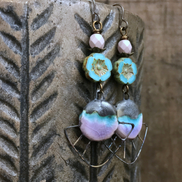 Turquoise & Pink Spiky Earrings. Artisan Ceramic Statement Earrings