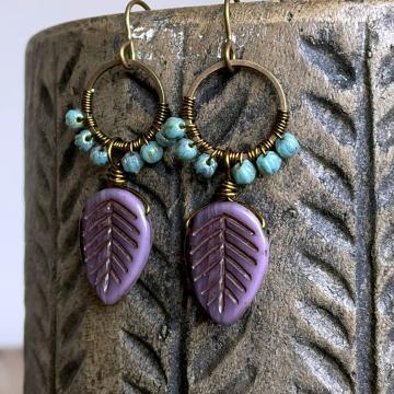 Lavender & Turquoise Czech Glass Earrings. Purple Leaf Earrings. Wire Wrapped Hoop Earrings