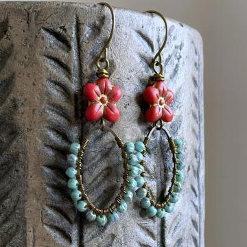 Bohemian Style Red & Turquoise Czech Glass Earrings. Wire Wrapped Hoop Earrings. Wirework Earrings