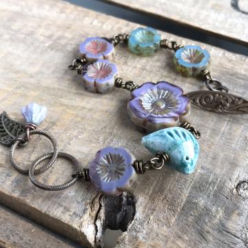 Artisan Ceramic Bird Bead Bracelet. Czech Glass Bracelet. Wire Wrapped Flower Bracelet