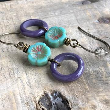 Artisan Lampwork Earrings. Colourful Bohemian Glass Hoop Earrings. Purple Hoop Earrings. Turquoise Flower Earrings