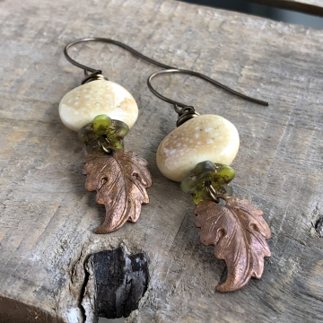 Copper Prairie Leaf Earrings. Rustic Leaf Earrings. Stacked Earrings. Ceramic Earrings