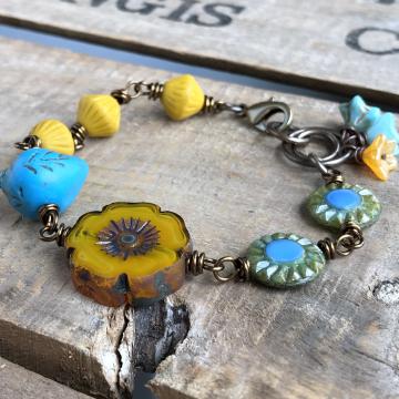 Yellow & Blue Czech Glass Bracelet. Whimsical One of a Kind Bracelet. Colourful Bird Bracelet