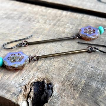 Long Lightweight Purple & Aqua Czech Glass Earrings