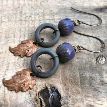 Rustic Copper Leaf Earrings. Prairie Leaf Earrings. Artisan Lampwork Earrings
