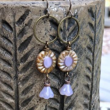 Rustic Lilac Czech Glass Earrings. Long Hoop Earrings. Bohemian Style Jewelry