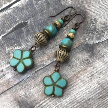 Turquoise Czech Glass Almond Blossom Flower Earrings. Long Bohemian Stacked Earrings