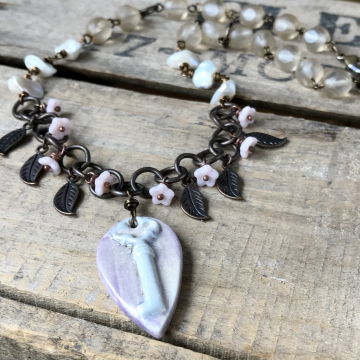 Artisan Ceramic Vintage Key Necklace. Mixed Media Necklace. Whimsical Pink & Cream Necklace