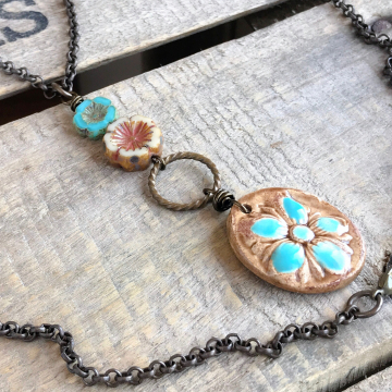 Long Hibiscus Flower Artisan Ceramic Necklace