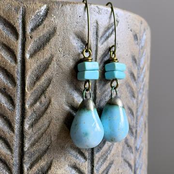 Rustic Turquoise Ceramic Drop Earrings. Artisan Ceramic Earrings. Pottery Earrings