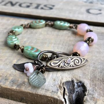Pink & Green Czech Glass Bracelet. Rustic Pastel Beaded Bracelet. Wire Wrapped Bracelet