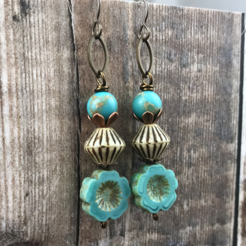 Turquoise, Beige & Brown Bohemian Stacked Earrings