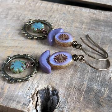 Lilac & Aqua Czech Glass Bead Earrings. Stacked Earrings. Long Bohemian Earrings
