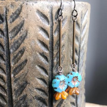 Blue & Yellow Czech Glass Flower Earrings