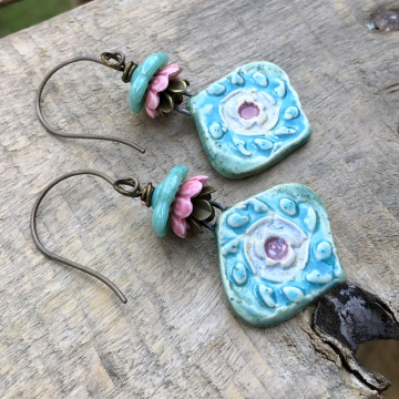 Colorful Artisan Ceramic Earrings. Handcrafted Ceramic Earrings. Turquoise & Pink Pottery Earrings