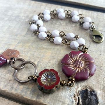 Burgundy & Pale Pink Czech Glass Bracelet