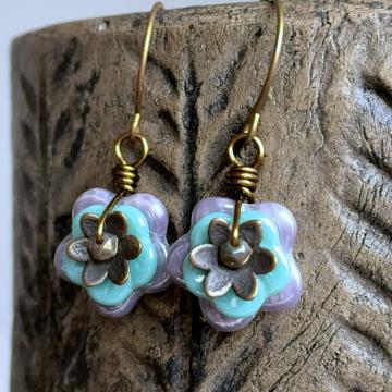 Colourful Czech Glass Flower Earrings. Purple & Turquoise Floral Earrings. Blossom Earrings. Stacked Earrings