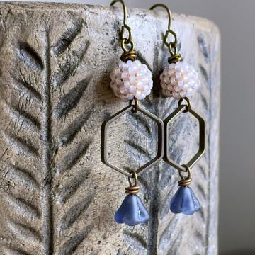 Artisan Beaded Bead Earrings. Hand Antiqued Brass Earrings. One of a Kind Earrings. Hexagon Earrings